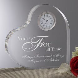 Personalized Romantic Glass Heart Clock