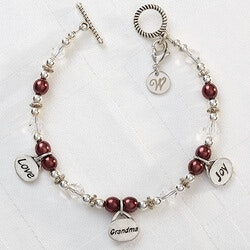 Gifts for Grandmother:Personalized Charm Bracelet - Love, Grandma,..