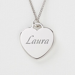 Personalized Silver Heart Necklace