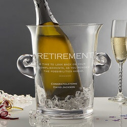Retirement Gifts:Personalized Crystal Chiller Ice Bucket..