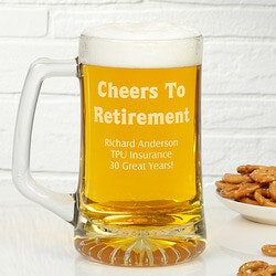 Retirement Gifts:Personalized Retirement Beer Mug