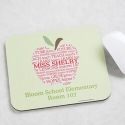 Gifts for Teachers:Personalized Teacher Mouse Pads - Apple