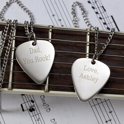 Personalized Gifts for Father In Law:Personalized Silver Guitar Pick Necklace