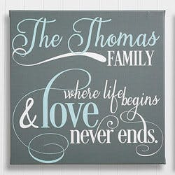 Family Quote 16x16 Personalized Canvas Print