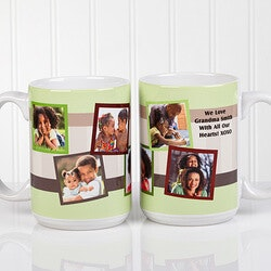 Unusual Gifts for Dad (Under $25):Personalized Photo Collage 15 Oz. Coffee Mugs