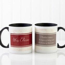 Personalized Teacher Coffee Mugs - Black..