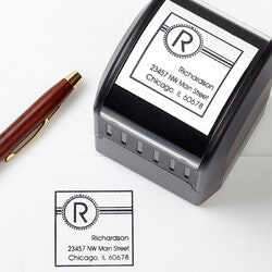 Personalized Christmas Gifts for Family:Personalized Address Stamp - Square Initial