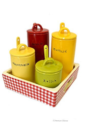 Ceramic BBQ Condiment Serving Set