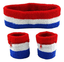 Sweatband Set, Red/White/Blue