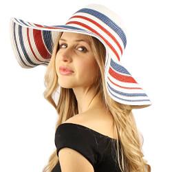 Flag Colors Striped Floppy Wide Brim Hat