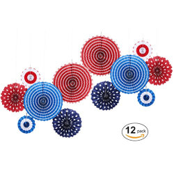 Hanging Paper Fan Decoration red/blue/white