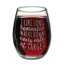 'I Like Long Romantic Walks at Target' Wine Glass